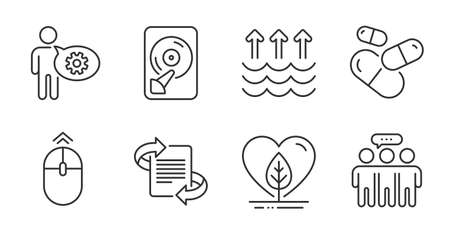 Marketing, Evaporation and Employees group line icons set. Local grown, Hdd and Swipe up signs. Cogwheel, Capsule pill symbols. Science set. Vector