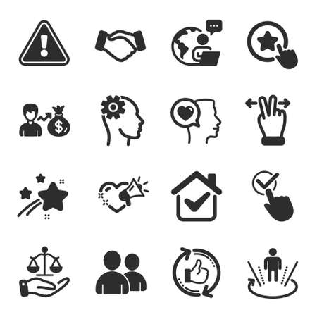 Set of People icons, such as Justice scales, Love message, Romantic talk symbols. Handshake, Refresh like, Users signs. Engineering, Touchscreen gesture, Checkbox. Sallary, Loyalty star. Vector Иллюстрация