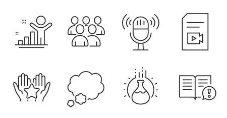 Microphone, Winner and Facts line icons set. Group, Chemistry experiment and Video file signs. Ranking, Talk bubble symbols. Education set. Vector
