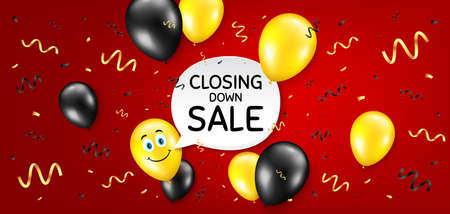Closing down sale. Balloon confetti vector background. Special offer price sign. Advertising discounts symbol. Birthday balloon background. Closing down sale message. Celebrate red banner. Vector