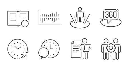 Update time, Technical info and Augmented reality line icons set. Employees teamwork, 360 degree and Column diagram signs. Job interview, 24 hours symbols. Quality line icons. Ilustração Vetorial