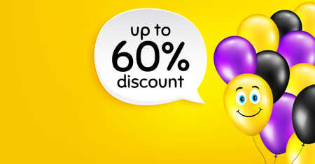 Up to 60 percent discount. Smile balloon vector background. Sale offer price sign. Special offer symbol. Save 60 percentages. Birthday balloon background.