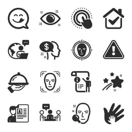 Set of People icons, such as Social responsibility, Face search, Face detect symbols. People chatting, Yummy smile, Manual doc signs. Click hand, Restaurant food, Pay.
