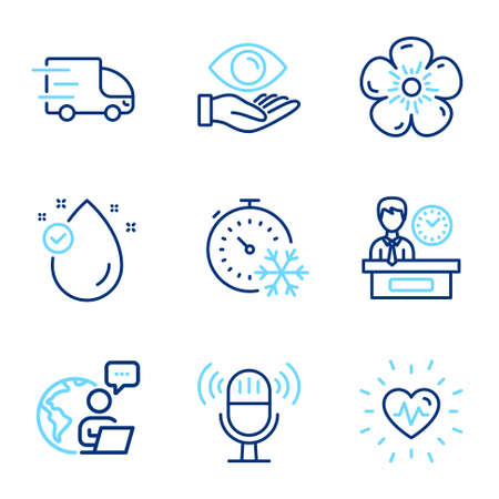 Business icons set. Included icon as Presentation time, Health eye, Freezing timer signs. Natural linen, Microphone, Truck delivery symbols. Vitamin e, Heartbeat line icons.