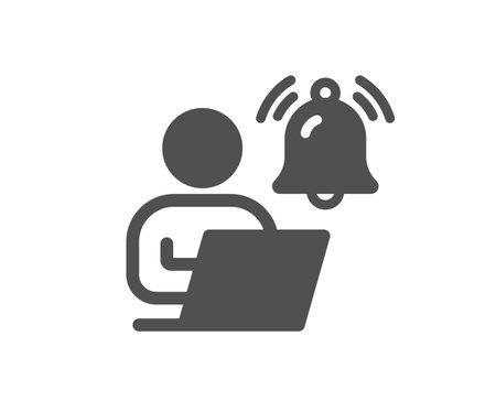 User notification icon. Alarm bell reminder sign. Message alert symbol. Quality design element. Flat style user notification icon. Editable stroke. Vector
