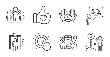 Like hand, Click hand and Elevator line icons set. Winner, Income money and House security signs. Builders union, Lawyer symbols. Thumbs up, Touch gesture, Lift. People set.