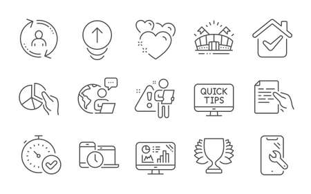 Analytics graph, Heart and Smartphone repair line icons set. Web tutorials, Swipe up and Hold document signs. Fast verification , Sports arena and Winner symbols.