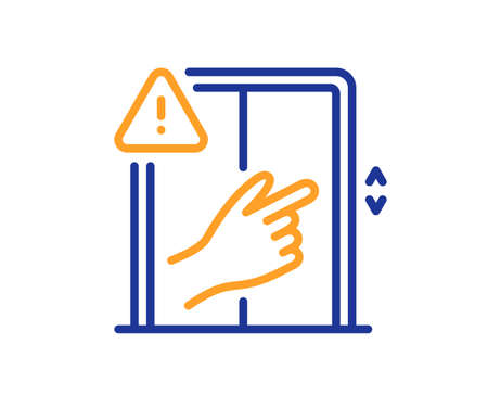 Dont touch lift buttons line icon. Hand warning sign. Elevator hygiene notification symbol. Quality design element. Line style dont touch icon. Editable stroke. Vector Vecteurs
