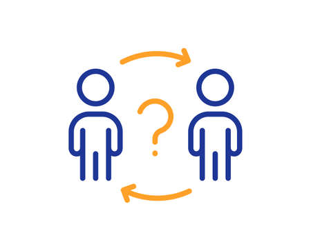 Delegate question line icon. Teamwork help sign. Employee share symbol. Quality design element. Line style delegate question icon. Editable stroke. Vector