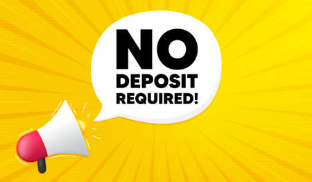 No deposit required. Yellow background with megaphone. Promo offer sign. Advertising promotion symbol. Megaphone banner. No deposit required speech bubble. Loudspeaker background. Vector