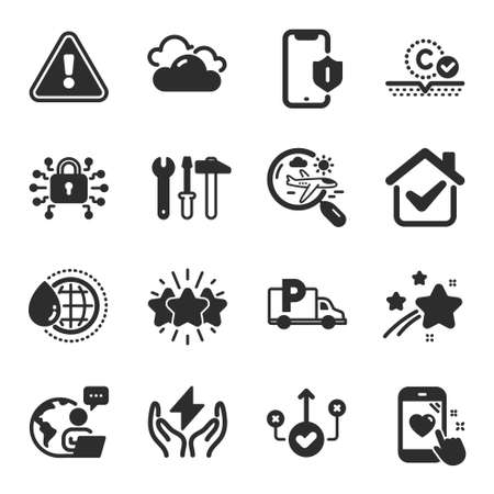 Set of Business icons, such as Search flight, Smartphone protection, Spanner tool symbols. Cloudy weather, Collagen skin, Correct way signs. Truck parking, Safe energy, World water. Star. Vector
