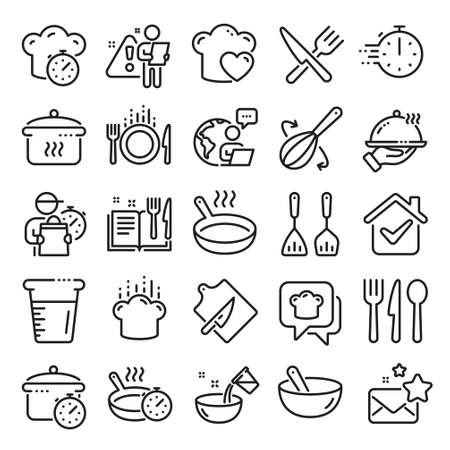 Cooking line icons. Boiling time, Frying pan and Kitchen utensils. Fork, spoon and knife line icons. Recipe book, chef hat and cutting board. Cooking book, frying time, hot pan. Line icon set. Vector Vektorové ilustrace