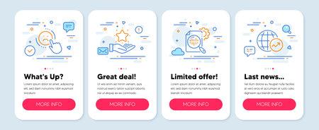 Set of Technology icons, such as Loyalty program, Dislike, Seo stats symbols. Mobile app mockup banners. World statistics line icons. Bonus star, Negative feedback, Cogwheel. Global report. Vector Vector Illustratie