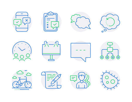 Business icons set. Included icon as Bike rental, Messenger, Restructuring signs. Recovery data, Road banner, Agreement document symbols. Blog, People, Meeting time. Phone survey, Bacteria. Vector Çizim