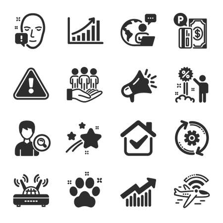 Set of Business icons, such as Megaphone, Pet friendly, Graph chart symbols. Discount, Search people, Wifi signs. Parking payment, Demand curve, Cogwheel. Best buyers, Face attention. Vector