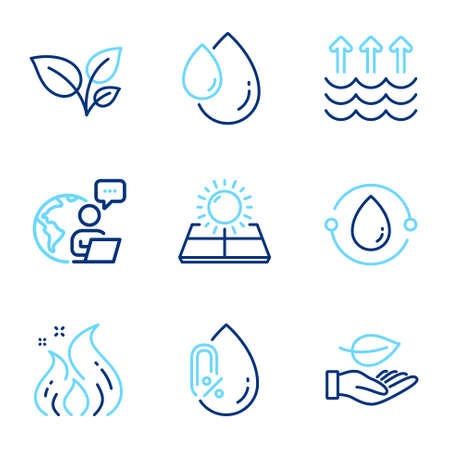 Nature icons set. Included icon as No alcohol, Evaporation, Leaves signs. Leaf, Sun energy, Oil drop symbols. Cold-pressed oil, Fire energy line icons. Global warming, Grow plant. Vector