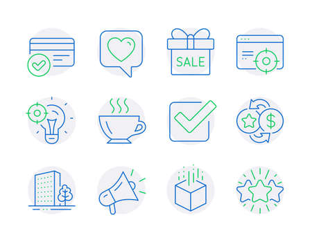 Business icons set. Included icon as Megaphone, Checkbox, Payment methods signs. Augmented reality, Coffee, Buildings symbols. Heart, Seo targeting, Sale offer. Loyalty points, Seo idea. Vector Иллюстрация