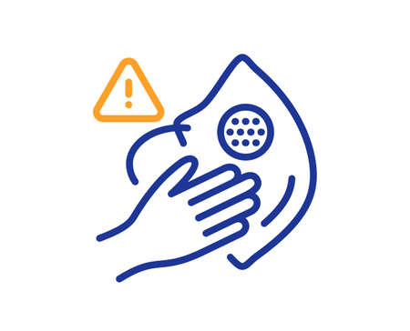 Dont touch face mask line icon. Hand warning sign. Medical mask hygiene notification symbol. Quality design element. Line style dirty mask icon. Editable stroke. Vector 向量圖像