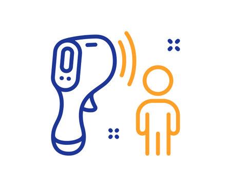 Electronic thermometer line icon. Temperature scanner sign. Fever measuring symbol. Quality design element. Line style electronic thermometer icon. Editable stroke. Vector Vektorgrafik