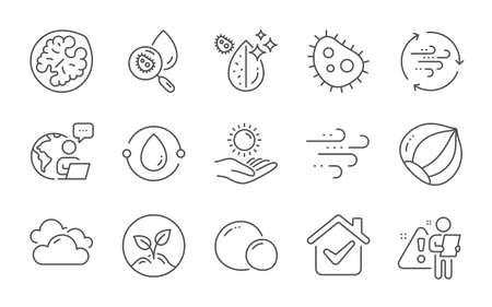 Water analysis, Cold-pressed oil and Startup line icons set. Wind energy, Dirty water and Sun protection signs. Bacteria, Hazelnut and Windy weather symbols. Cloudy weather, Walnut and Peas. Vector