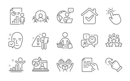 Business meeting, Face accepted and Time management line icons set. Touchpoint, Hold document and Rotation gesture signs. Business report, Winner and Hold box symbols. Line icons set. Vector Çizim