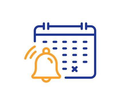 Notification calendar line icon. Bell alarm reminder sign. Alarm clock symbol. Quality design element. Line style notification calendar icon. Editable stroke. Vector