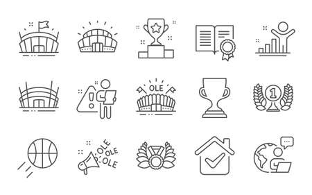Basketball, Arena stadium and Winner cup line icons set. Ole chant, Sports stadium and Diploma signs. Laureate medal, Arena and Award cup symbols. Winner, Laureate award. Line icons set. Vector Çizim