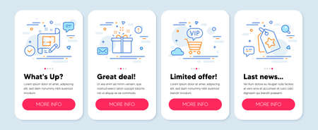 Set of Business icons, such as Architect plan, Special offer, Vip shopping symbols. Mobile screen banners. Loyalty tags line icons. Engineering plan, Delivery box, Exclusive privilege. Vector