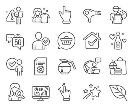 Business icons set. Included icon as Hair dryer, Identity confirmed, Click hand signs. Coffeepot, Moisturizing cream, Verification person symbols. Touchscreen gesture, Analytics graph. Vector