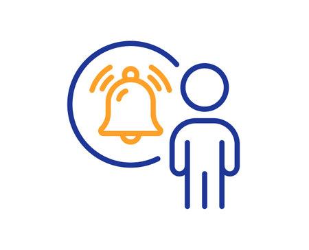 User notification line icon. Alarm bell reminder sign. Message alert symbol. Quality design element. Line style user notification icon. Editable stroke. Vector