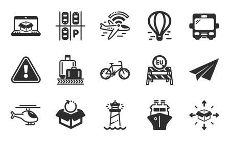 Bicycle, Airplane wifi and Ship icons simple set. Eu close borders, Parking place and Parcel delivery signs. Online delivery, Air balloon and Helicopter symbols. Flat icons set. Vector