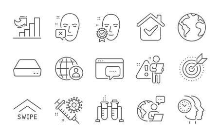 Swipe up, International recruitment and Seo message line icons set. Growth chart, Face verified and World planet signs. Coronavirus vaccine, Face declined and Time management symbols. Vector