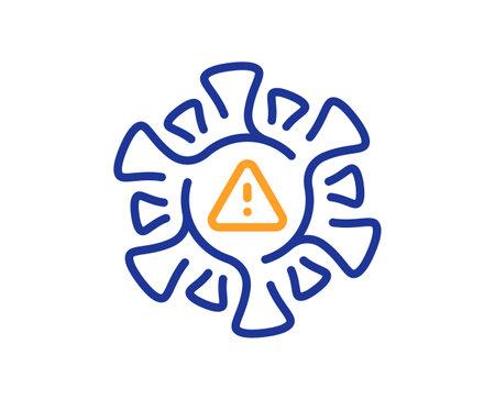 Coronavirus line icon. Covid virus sign. Infection alert symbol. Quality design element. Line style coronavirus icon. Editable stroke. Vector