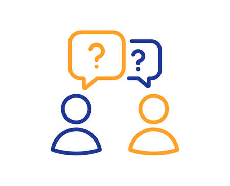 Teamwork questions line icon. Ask help sign. Support problem symbol. Quality design element. Line style teamwork questions icon. Editable stroke. Vector