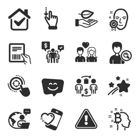 Set of People icons, such as Touchscreen gesture, Heart, Leaf symbols. Smile face, Parcel invoice, Seo target signs. Buying process, Search people, Bitcoin think. Couple love, Teamwork. Vector