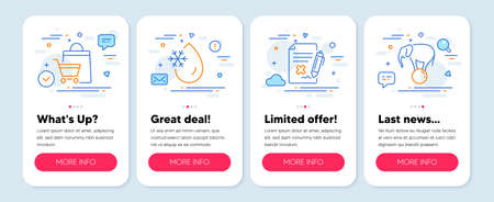 Set of Business icons, such as Freezing water, Reject file, Sale bags symbols. Mobile screen app banners. Elephant on ball line icons. Freeze temperature, Decline agreement, Shopping cart. Vector