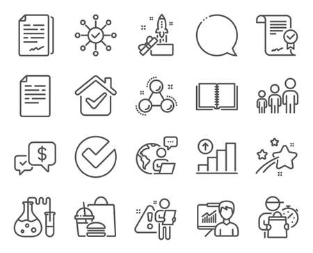 Education icons set. Included icon as Verify, Graph chart, Document signature signs. Business hierarchy, Approved agreement, Document symbols. Payment received, Chemistry molecule, Book. Vector