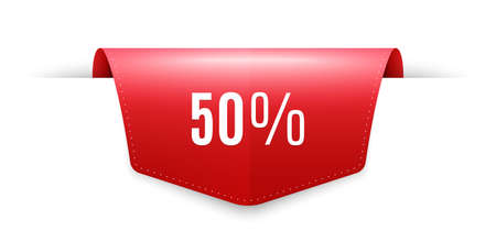 50 percent off Sale. Ribbon label tag. Discount offer price sign. Special offer symbol. Infographics price tag banner. Discount badge shape. Website ribbon label banner. Vector
