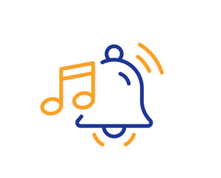 Alarm clock sound line icon. Reminder bell music sign. Notification musical note symbol. Quality design element. Line style alarm sound icon. Editable stroke. Vector