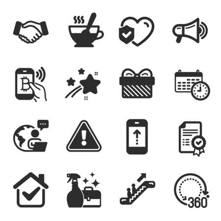 Set of Business icons, such as Life insurance, Cleanser spray, Escalator symbols. Bitcoin pay, Calendar, 360 degrees signs. Megaphone, Certificate, Tea cup. Handshake, Swipe up, Gift. Vector