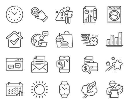 Technology icons set. Included icon as Browser window, Touchscreen gesture, Phone repair signs. Accounting report, Graph chart, Copyright chat symbols. Calendar graph, Time management. Vector