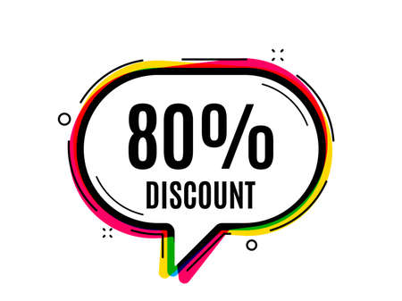 80 percent discount. Speech bubble vector banner. Sale offer price sign. Special offer symbol. Thought or dialogue speech balloon shape. Discount chat think bubble. Infographic cloud message. Vector