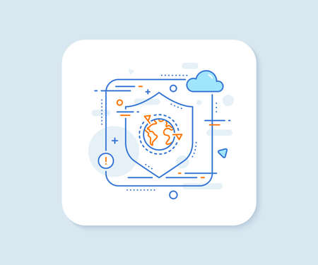 Global business with flags line icon. Abstract vector button. International outsourcing sign. Internet marketing symbol. Outsourcing line icon. Protect shield concept. Vector