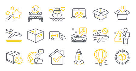 Set of Transportation icons, such as Arrivals plane, Air balloon, Online delivery symbols. Office box, Truck transport, Open box signs. Cancel flight, Honeymoon cruise, Car service. Rocket. Vector