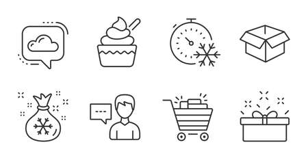 Cloud communication, Person talk and Opened box line icons set. Santa sack, Shopping cart and Ice cream signs. Freezing timer, Present box symbols. Quality line icons. Vector
