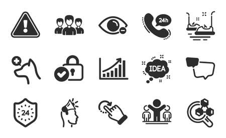 24 hours, Brand ambassador and Verified locker icons simple set. Bumper cars, Idea and Rotation gesture signs. 24h service, Speech bubble and Myopia symbols. Flat icons set. Vector