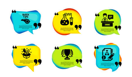 Creativity, Winner and Tutorials icons simple set. Speech bubble with quotes. Chemistry lab, Exhibitors and Algorithm signs. Design idea, Sports achievement, Quick tips. Vector