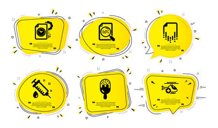 Project deadline, Recovery file and Medical syringe icons simple set. Yellow speech bubbles with dotwork effect. Ice cream, Search file and Medical helicopter signs. Vector