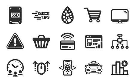 Meeting time, Web report and Contactless payment icons simple set. Decreasing graph, Shop cart and Augmented reality signs. Computer, Taxi and Restructuring symbols. Flat icons set. Vector