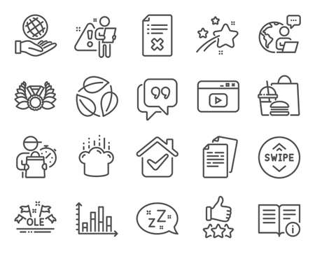 Business icons set. Included icon as Laureate medal, Technical info, Swipe up signs. Safe planet, Quote bubble, Video content symbols. Sleep, Diagram graph, Leaves. Cooking hat, Documents. Vector